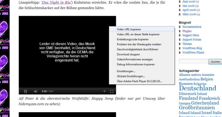 Gesperrtes Youtubevideo mit Infotext und Kontextmenü